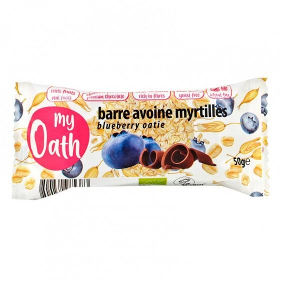 Barre avoine myrtille enrobée de chocolat bio 50g