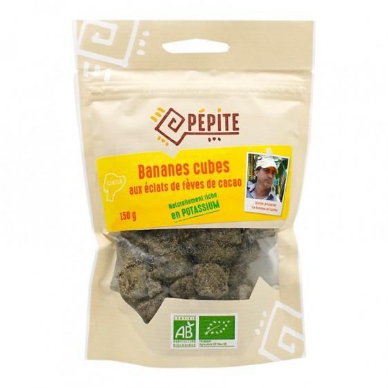 Bananes cubes aux éclats de fèves de cacao bio 150g