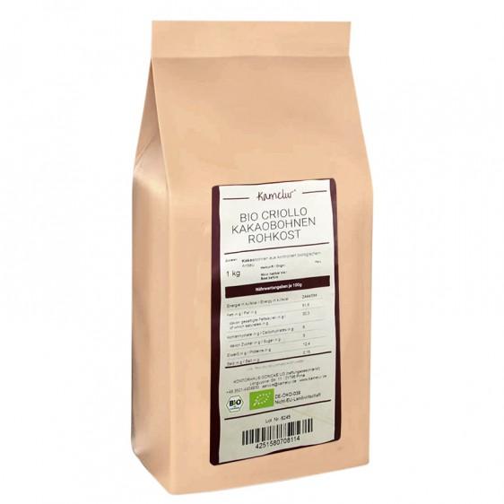 Fèves de cacao criollo crues bio 1kg
